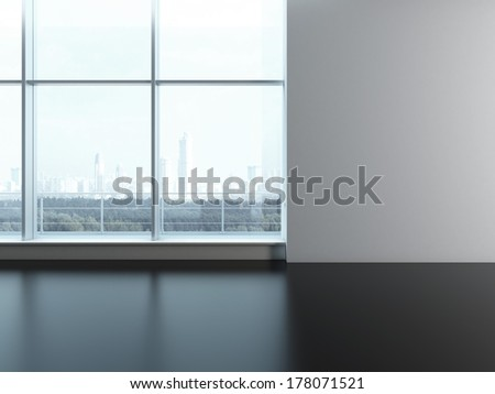 Office window. Blank wall - stock photo