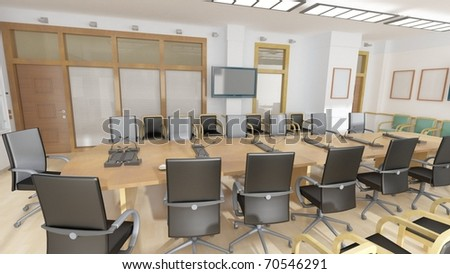 Office with black leather armchairs - stock photo