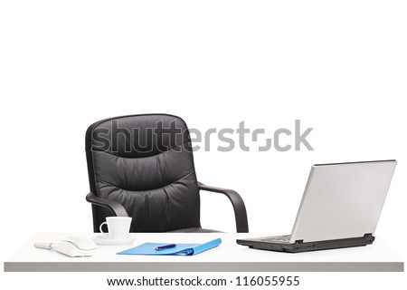 Office with chair, laptop and other office objects isolated on white background - stock photo