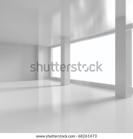 Office With Columns - 3d illustration - stock photo