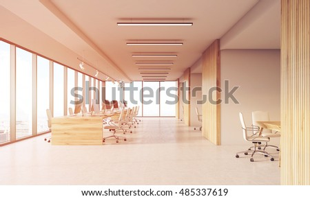 Office with panoramic windows and wooden walls. Office cubicles at background, meeting rooms on the right. Concept of office interior.3d rendering, toned image