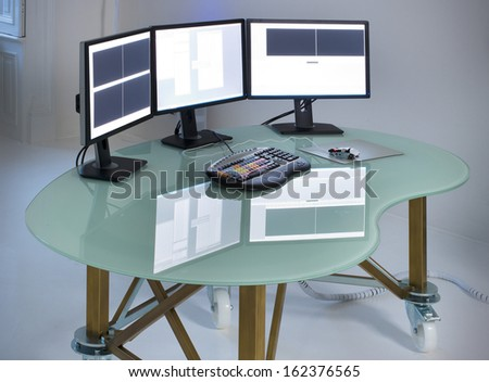 office with table desktop computer an keyboard
