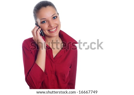 Office woman in red shirt with telephone