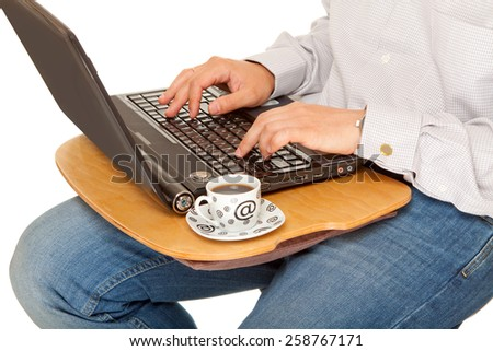 Office work. Man with notebook and coffe. Isolated on white. - stock photo
