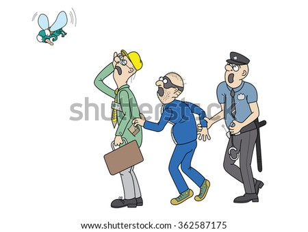 Office worker, a pickpocket and a policeman. They are staring at a big fly - stock photo