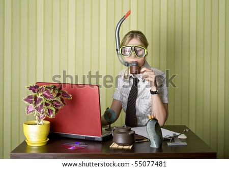 office worker can't wait to swim - stock photo