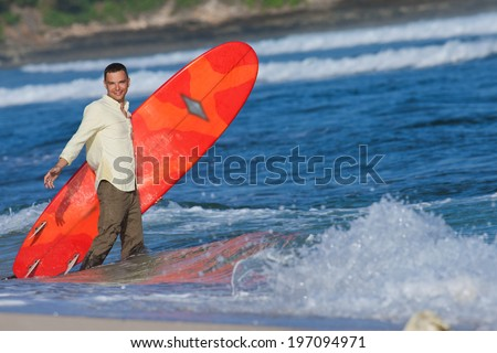 office worker enjoys active recreation, a lot of emotion on his face - stock photo