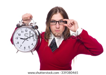 Office worker holding alarm clock isolated on white - stock photo