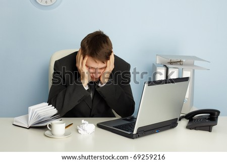 Office worker is tired - stock photo