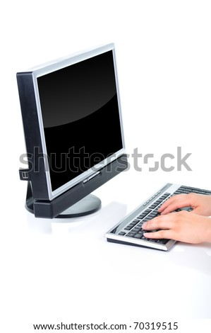 Office worker is typing a document on the desktop