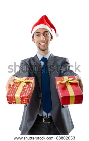 Office worker offering giftbox on white