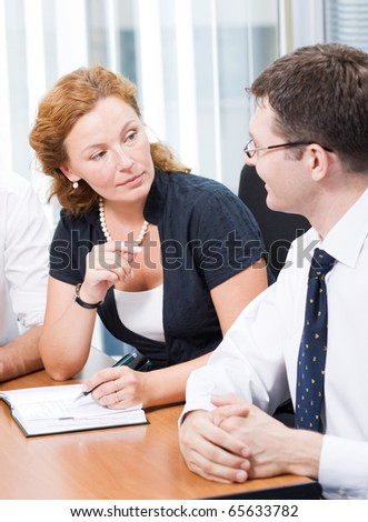 Office worker on meeting in board room - stock photo