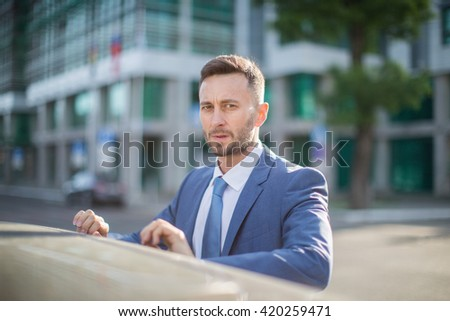 office worker portrait, blurred background with copy space for content or design - stock photo