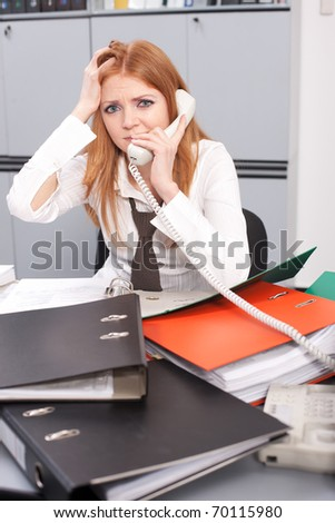 Office worker with documents call to somebody