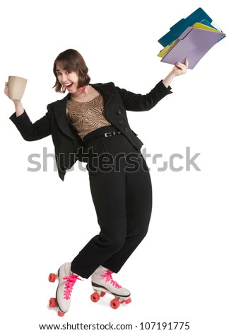 Office worker with pink roller skates and coffee mug - stock photo