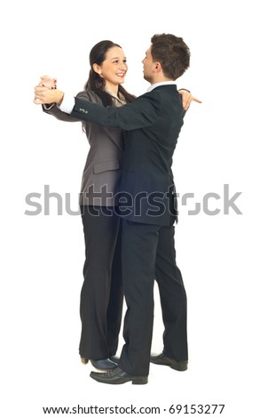 Office workers couple dance waltz isolated on white background - stock photo