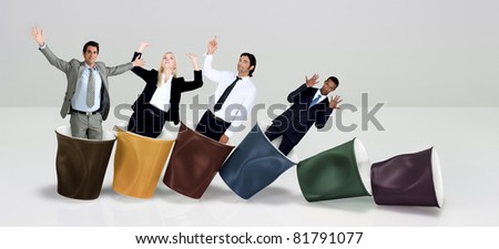 Office workers praising coffee - stock photo