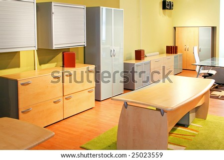 Office working environment with brand new furniture - stock photo