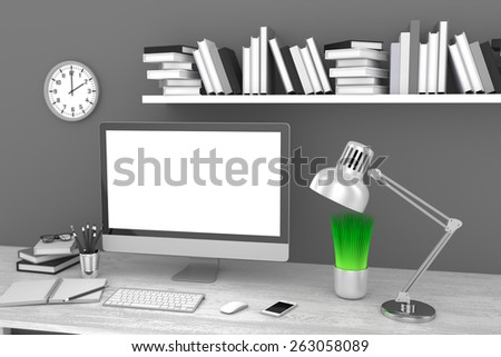Office workplace 3d render - stock photo