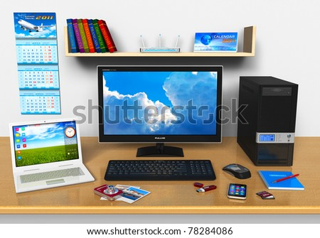 Office workplace with desktop computer, laptop, smartphone, compact digital camera, flash drive and other devices - stock photo