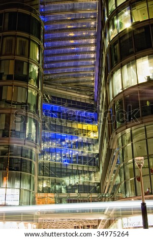 Officees by night in London - stock photo