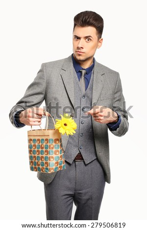 officeman with a flower, present