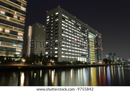 offices at night - stock photo