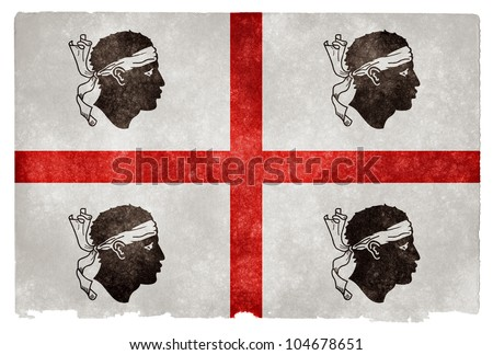 Official flag of Sardinia (Italy) on grunge textured vintage paper. Similar to the pre-1999 flag of Sardinia, except the Moors heads face right and bandages rest on their foreheads - stock photo