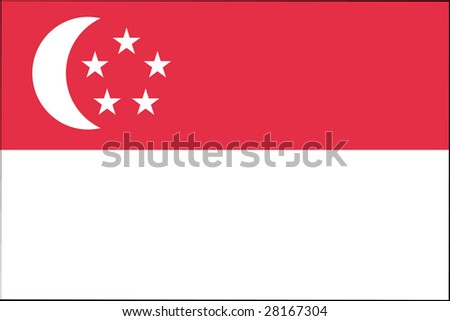 official flag of singapore - stock photo
