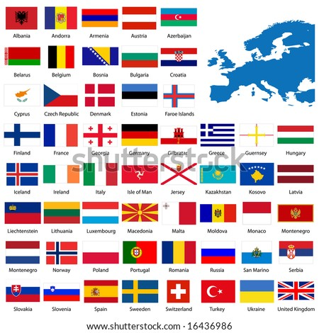 Official list of all European country flags and map - stock photo