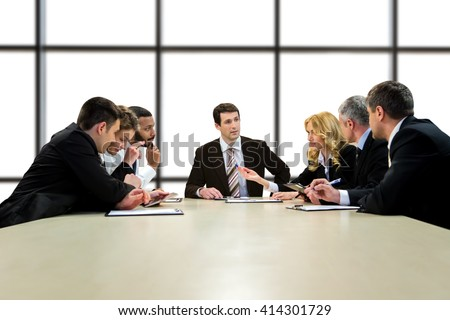 Official men and women talking. Businesspeople on white background. Looking for the best strategy. We'll handle it together. - stock photo