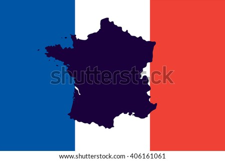 Official national flag of France and the country's geographical map - stock photo