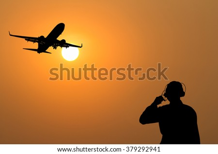 Officials are communicating with aircraft mechanic - stock photo