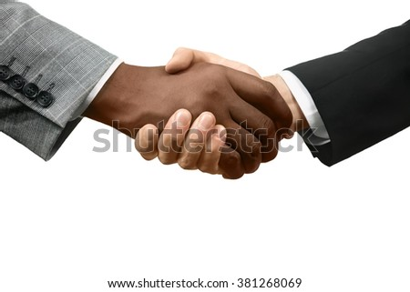 Officials shake hands. A new start. Together we win. Equality and tolerance.