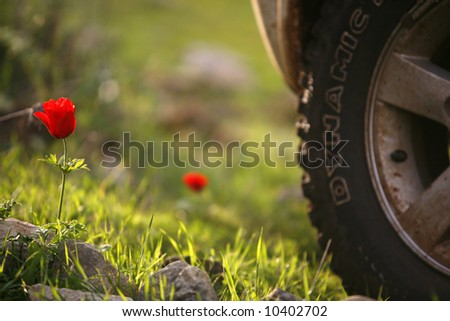 offroad car driving offroad in natural dirt terrain - stock photo