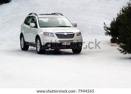Offroad car on the snow - stock photo