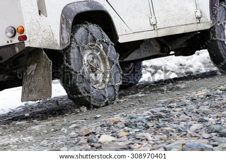 Offroad cars slide while climbing - stock photo