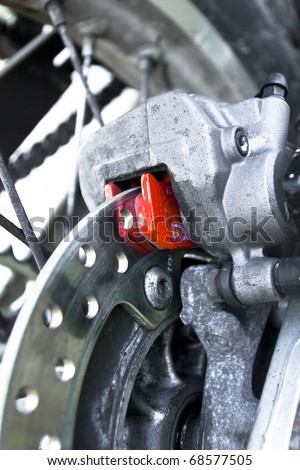 Offroad motorcycle brake disc close up - stock photo