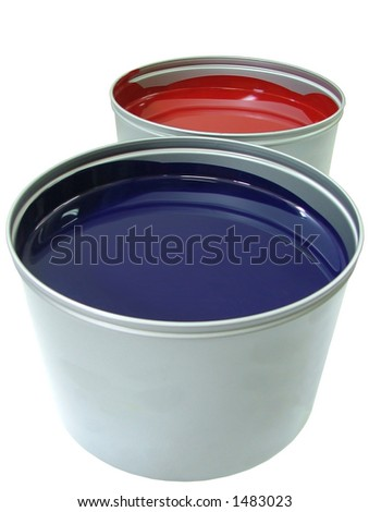 offset paint cans - stock photo