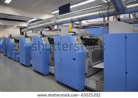 Offset press printing for labels - stock photo