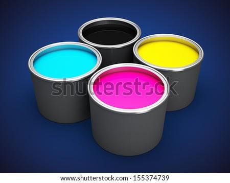 Offset printing ink - stock photo
