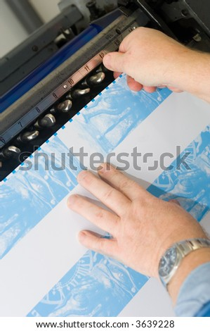 Offset Printing Press adjustments - stock photo