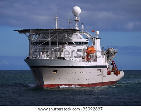 Offshore Diving Ship Underway At Sea. - stock photo