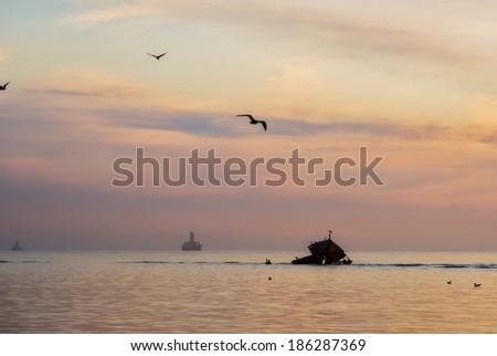 Offshore drilling platform. - stock photo
