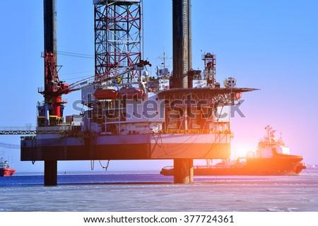 Offshore drilling platform - stock photo