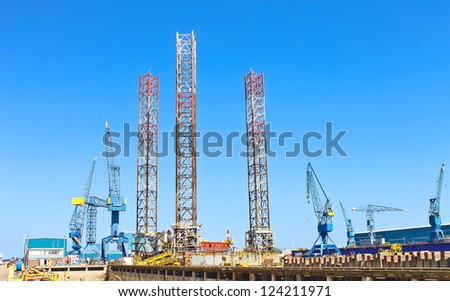 Offshore drilling platform in repair in shipyard