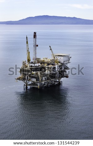 Offshore drilling rig aerial view - stock photo