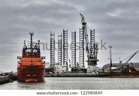 Offshore harbor in Esbjerg, Denmark - stock photo
