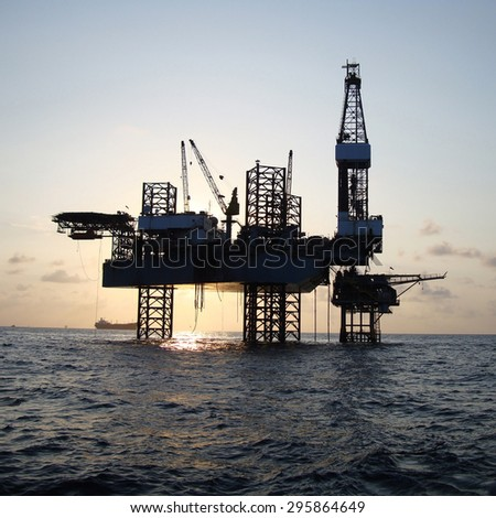 Offshore Jack up Drilling Rig - stock photo