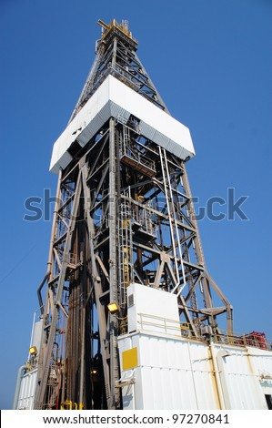 Offshore Jack Up Drilling Rig Looking at Side View - Petroleum Industry - stock photo
